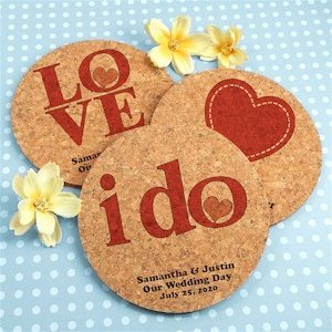 Personalized Round Wedding Cork Coasters (Many Designs) image