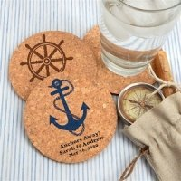 Nautical Design Personalized Round Cork Coasters