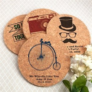 Vintage Design Personalized Round Cork Coaster Favors image