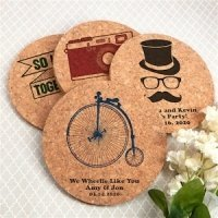 Vintage Design Personalized Round Cork Coaster Favors