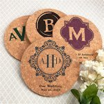 Personalized Monogram Round Cork Coasters (Many Designs)