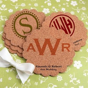 Personalized Scalloped Monogram Cork Coasters (Many Designs) image