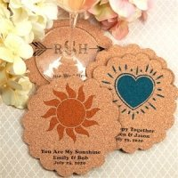 Personalized Scalloped Cork Coaster Favors (Many Designs)