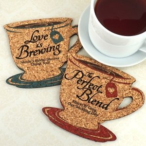 Personalized Tea Cup Cork Coaster image