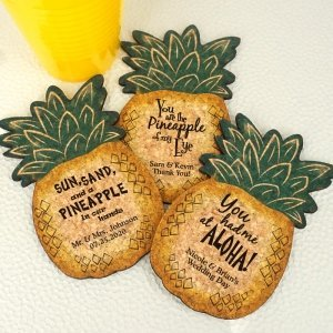 Personalized Pineapple Cork Coaster image