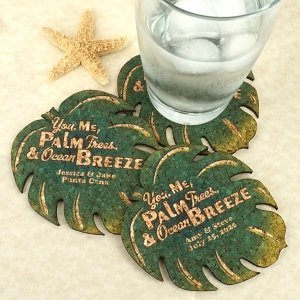 Personalized Palm Leaf Cork Coaster image