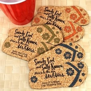 Personalized Flip Flops Cork Coaster image