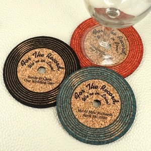 Personalized Vinyl Record Cork Coaster image