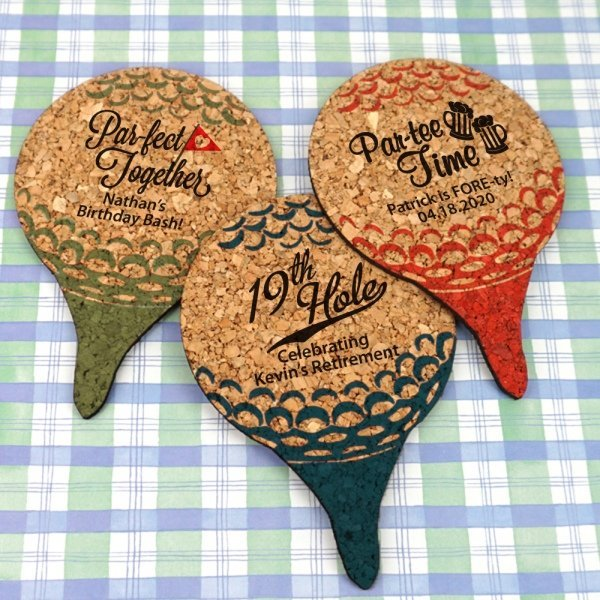 Personalized Golf Ball Cork Coaster Favors image