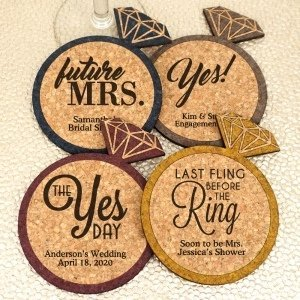 Personalized Diamond Ring Cork Coaster image