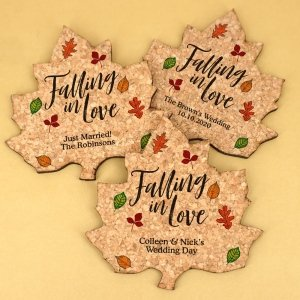 Personalized Fall Leaf Cork Coaster image