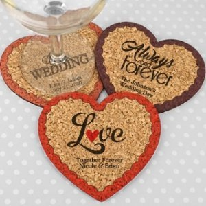 Personalized Wedding Heart Cork Coaster image