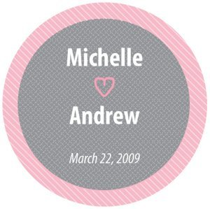 Round Pink & Gray Personalized Sticker image