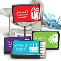 Personalized Black Matchbox Birthday Favors (Set of 50)