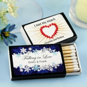 Winter Wedding Personalized Black Matchboxes (Set of 50) image