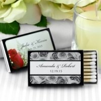 Personalized Black Box Wedding Matches (Set of 50)