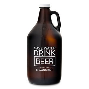 Drink Beer Personalized Amber Glass Growler image