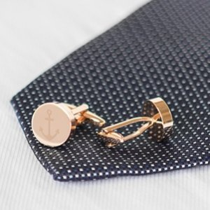 Anchor Round Cuff Links (Gold or Rose Gold) image