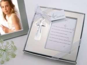 Bless this Day Cross Photo Frame Favor in Gift Box image