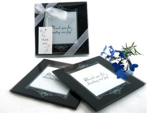 Memories Forever Glass Photo Coasters in Black (Set of 2) image