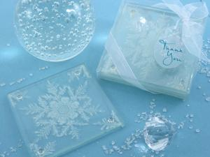 Shimmering Snow Crystal Frosted Snowflake Coasters (Set 2) image
