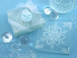 Shimmering Snow Crystal Frosted Snowflake Glass Coasters image