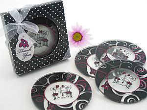 Bistro for Two Round Glass Coaster Favors in Designer Gift B image