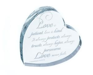 Love Is Patient... Heart Shaped Laser Etched Crystal Gift image
