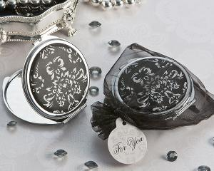 Diva in Damask Black and White Compact Mirror Favor image