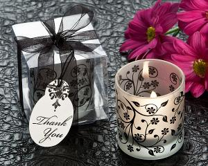 Frosted Elegance B&W Tea Light Candle Holder (Set of 4) image