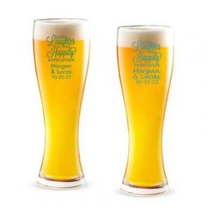 Love Laughter and Happily Ever After Personalized Pilsner Be image