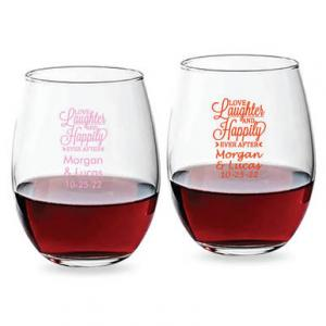 Love Laughter and Happily Ever After Script 15 oz Stemless W image