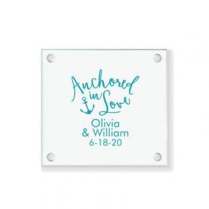 Anchored In Love Personalized Coaster image