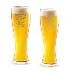 Anchored In Love Personalized Pilsner Beer Glass image