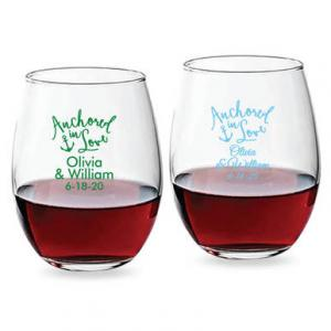 Anchored In Love 15 oz Stemless Wine Glass image