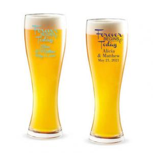 Forever Begins Today Personalized Pilsner Beer Glass image