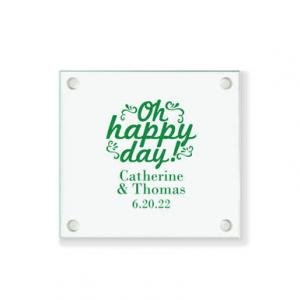 Oh Happy Day Ornate Personalized Coaster image