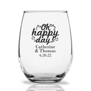 Oh Happy Day Ornate Personalized 9 oz Stemless Wine Glass image