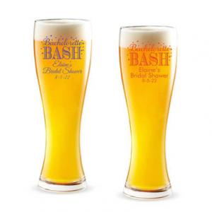 Bachelorette Bash Bubbly Personalized Pilsner Beer Glass image