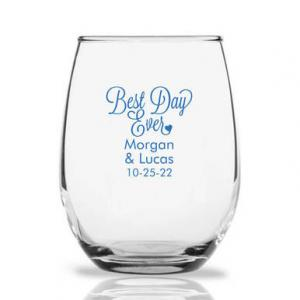 Best Day Ever Cursive Personalized 9 oz Stemless Wine Glass image
