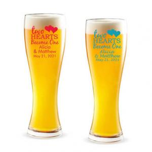 Two Hearts Become One Personalized Pilsner Beer Glass image