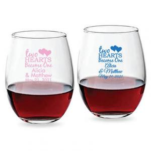 Two Hearts Become One 15 oz Stemless Wine Glass image