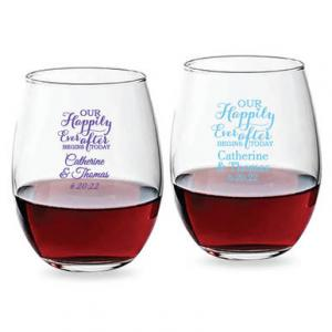 Our Happily Ever After Begins Today 15 oz Stemless Wine Glas image