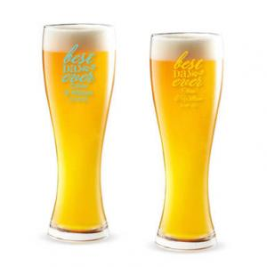 Best Day Ever Script Personalized Pilsner Beer Glass image