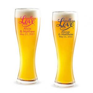 Endless Love Personalized Pilsner Beer Glass image