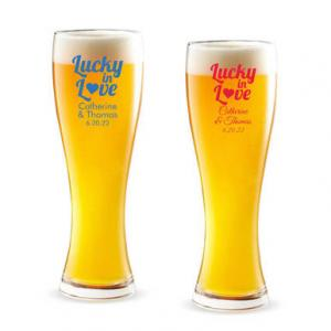 Lucky In Love Heart Personalized Pilsner Beer Glass image