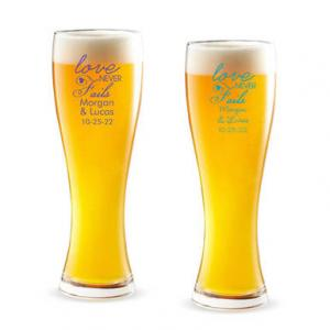 Love Never Fails Personalized Pilsner Beer Glass image