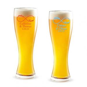 Endless Love Infinity Personalized Pilsner Beer Glass image