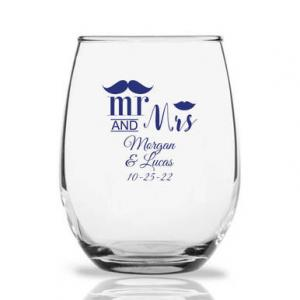 Mr. and Mrs. Mustache Lip Personalized 9 oz Stemless Wine Gl image