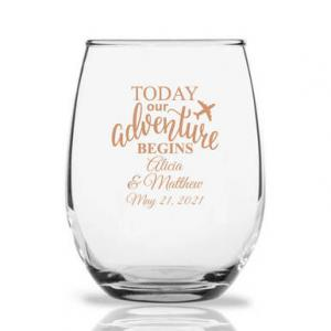 Today Our Adventure Begins Personalized 9 oz Stemless Wine G image